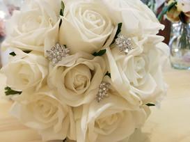 Cream Roses,Large & Medium Buds, andBling