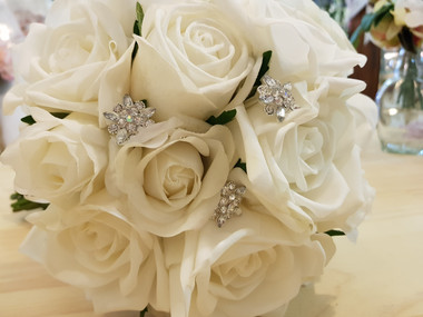 Megan's Real Touch White Roses