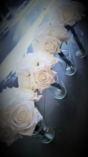 Real Touch White Roses