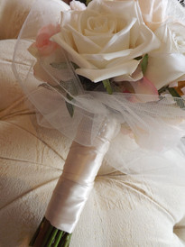White & Pink Roses & Peonies with Tulle
