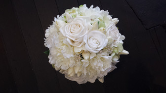 White Roses, Peonies, Tulips & Freesias with Diamantes