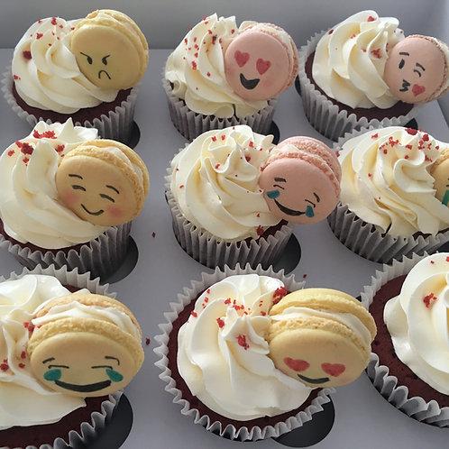 12 Emoji themed red velvet cupcakes