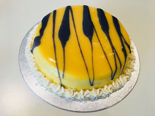 Yellow and purple Coconut mousse cake
