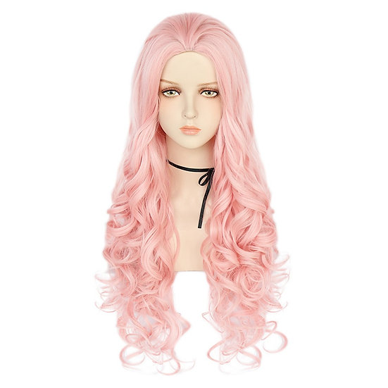 Wig Curly Long Pink
