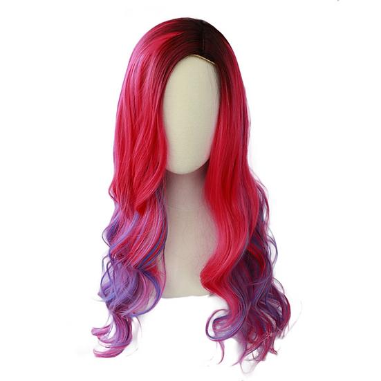 Wig Wavy Pink Purple