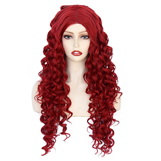 Wig Curly Fire Engine Red