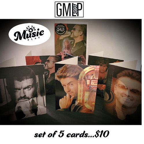 "Lovely GM set of 5 ""Let the Music Play"" cards"