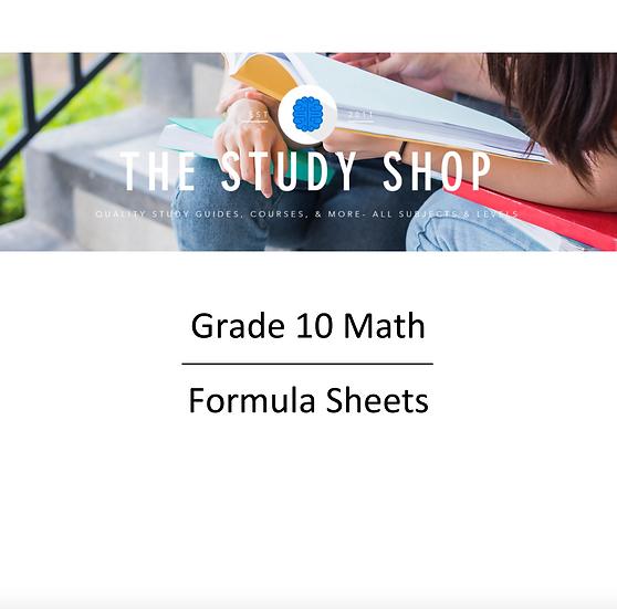 Grade 10 Math Formula Sheets