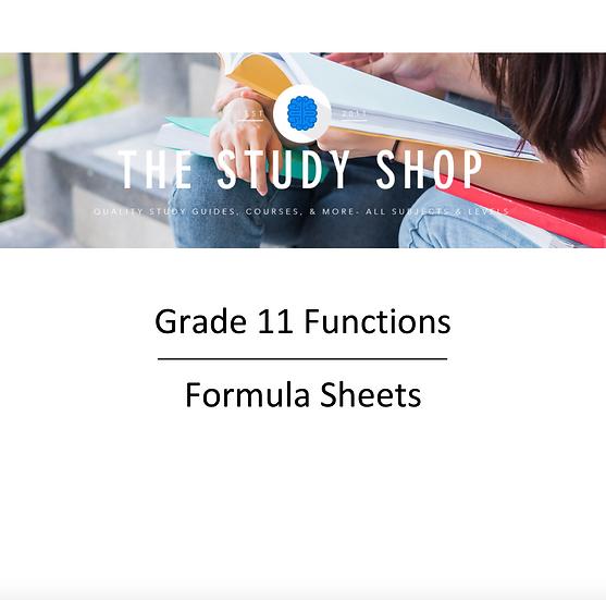 Grade 11 Functions Formula Sheets
