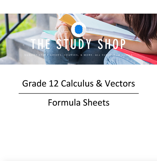 Grade 12 Calculus & Vectors Formula Sheets