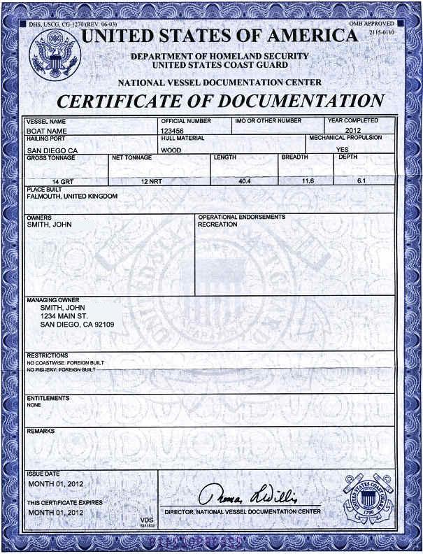 USCG-1270 U.S. Coast Guard Certificate of Documentation