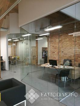 Split glass wall.