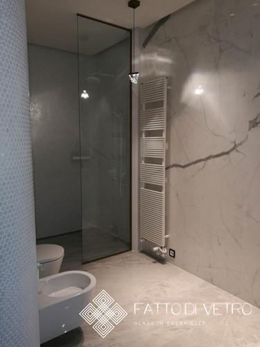 Glass shower panel.