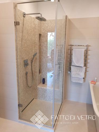 A glass shower with a verdant door.
