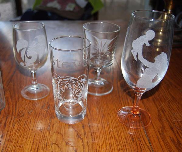 Gravēšana uz stikla, kristāla glāzēm