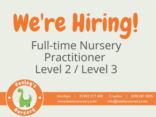 We're Hiring! Full-time Nursery Practitioner - Horsham