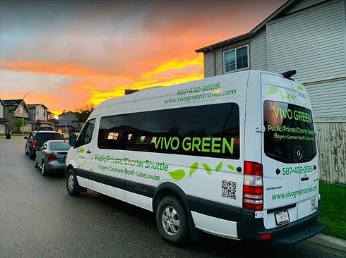 Vivo green shuttle bus parked on the street