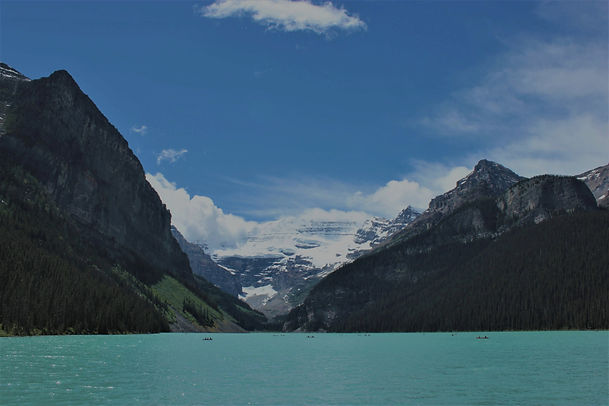 Lake Louise with mountains and lakes