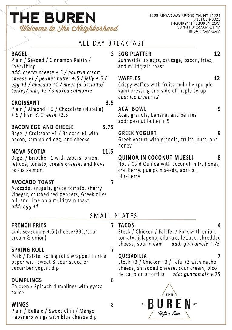 The Buren menu page 1