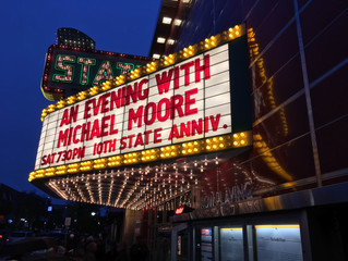Michael Moore Addresses Crowd at State Theatre in Traverse City, Michigan