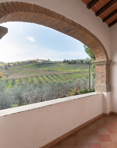 balcony with view in a holiday farm in chianti