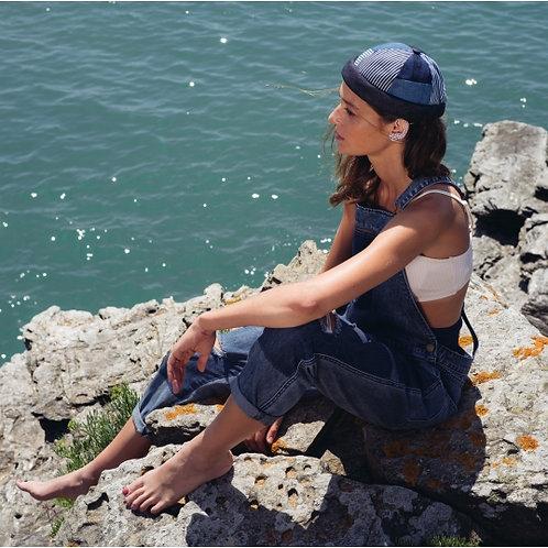 Miki bleu patchwork à rayures denim