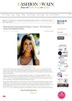 Kravitz featured in Women's Lifestyle Website for Raising Money for Anti-Bullying Movement
