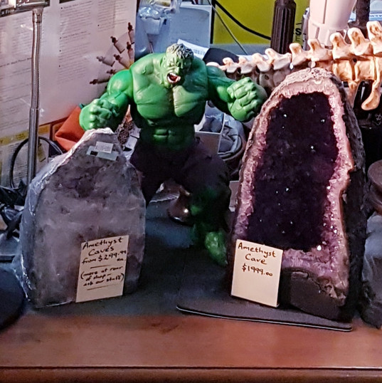 Various Hulk figurines available for puchase in store