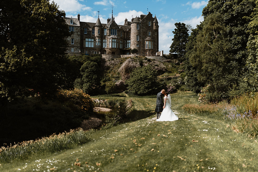 Couple on wedding day at Cullen House, Moray Aberdeenshire