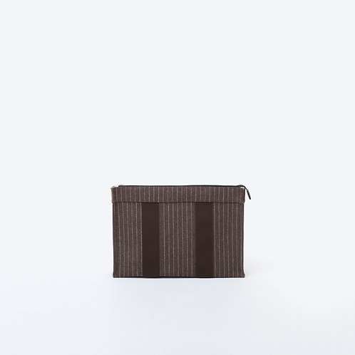 DOCUMENT POUCH - Brown Striped Flannel