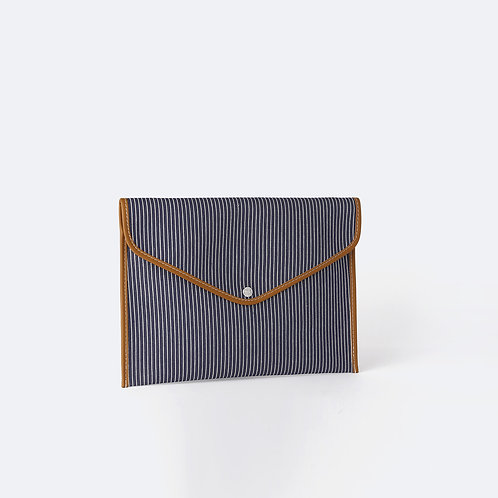 ENVELOPPE L - Navy Fine Stripes