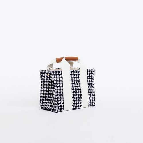 MINI TOTE - Navy Houndstooth