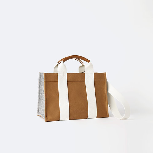 TOTE M - Camel/Grey Flannel