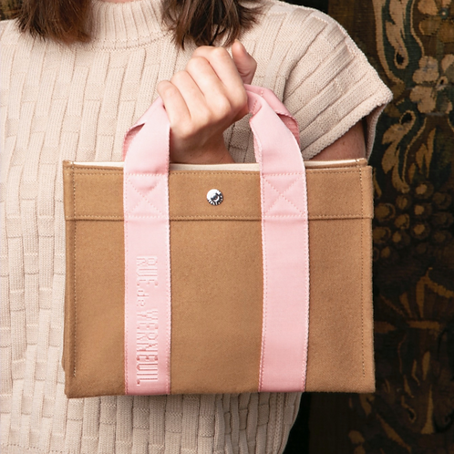 TOTE SMALL - Beige Flannel, Pink Logostrap