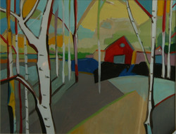 'Red Barn in Trees II'