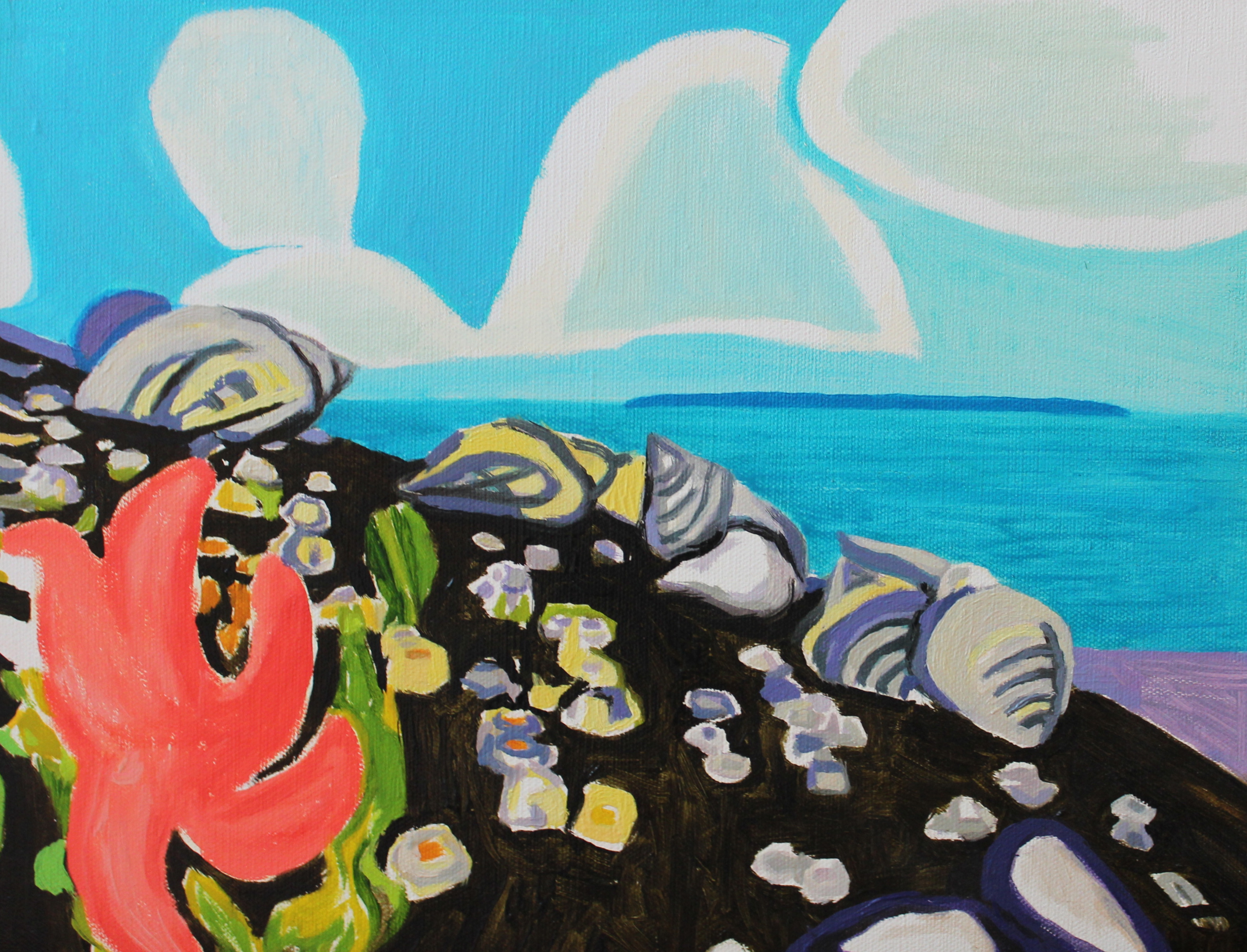 'Periwinkles, Sea Star, Clouds'