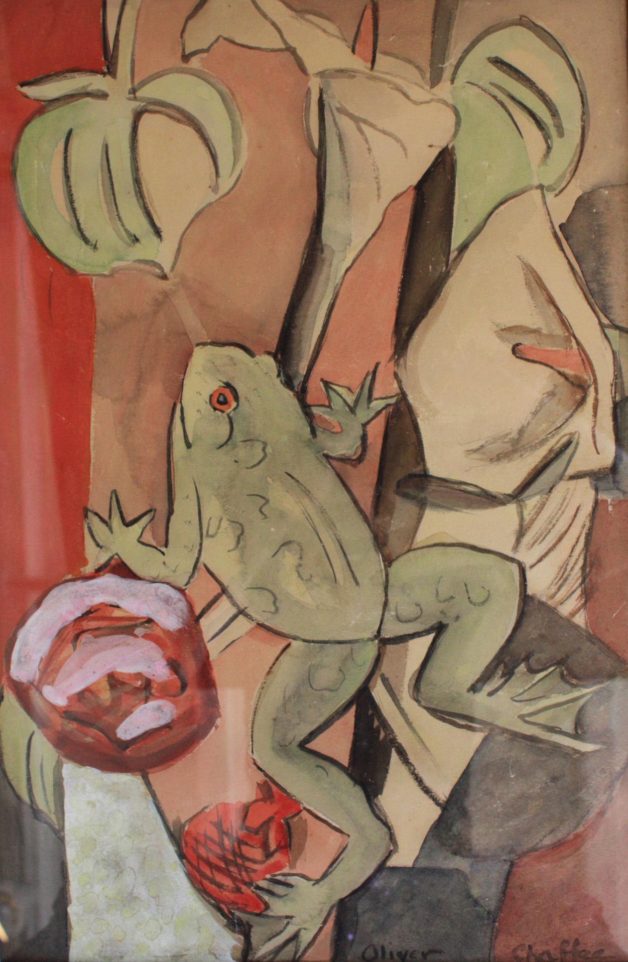 Frog with Calla Lillies by Oliver Chaffee