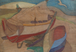 """Two Boats"" (Woodblock)"