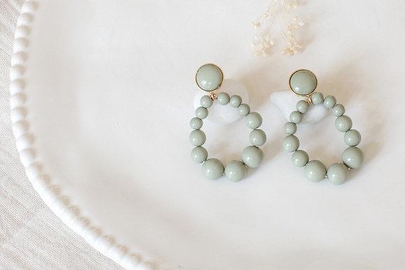Boucles d'oreilles - Perles rondes Vert de gris