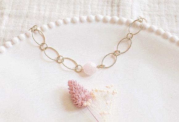 Bracelet - pierre ronde Quartz Rose