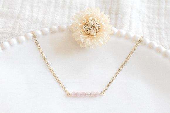Collier - perles facettées en Quartz rose