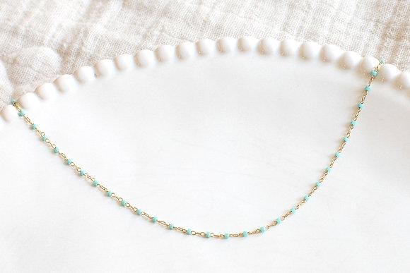 Collier chaîne perlée - Bleu