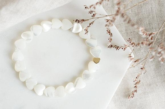 Bracelet coeurs nacre