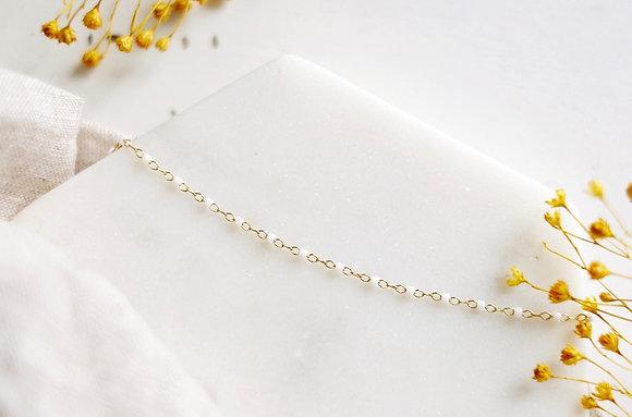Collier chaîne perlée - Blanc