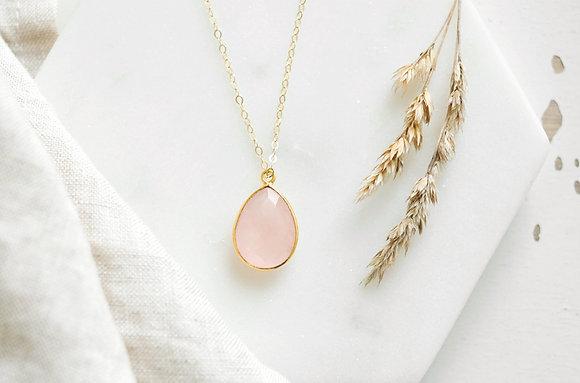 Collier pendentif quartz rose