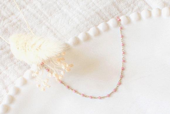 Collier chaîne perlée - Rose