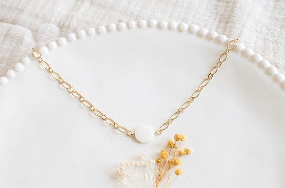 Collier  - pierre ronde nacre blanche