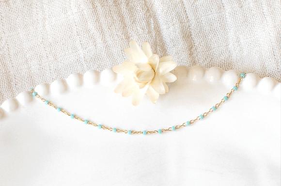 Bracelet chaîne perlée - Bleu
