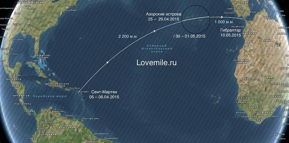 переход через Атлантический океан на яхте, Карибы - Азоры - Гибралтар