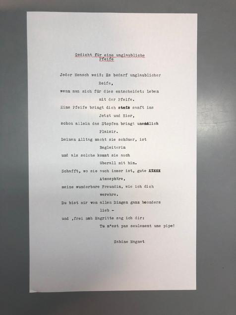 Gedicht für eine unglaubliche Pfeife